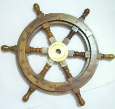 """18"""" Vintage Boat Ship Steering Wheel Brass Wooden Decor Nautical Pirate Gift"""