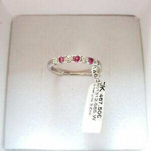 585 Weißgold Ring. 3x Saphire Pink 4x Zirkon Gr.55 UVP 467,00€ Made in Germany