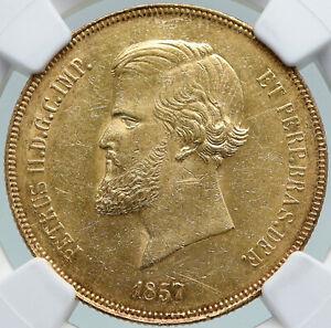 1857 BRAZIL King Dom Pedro II Antique Brazilian GOLD 20000 Reis NGC Coin i87733