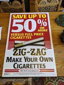 HUGE NOS ZIG-ZAG ROLLING PAPER CIGARETTES ADVERTISING POLE SIGN VTG RARE 41X27