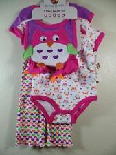 New Buster Brown Girl's 5 Pc OWL Set ~ 2 Bodysuits, Pants, Bib, Booties Sz 6-9M