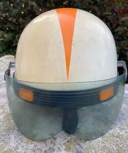 Vintage WFS Motorcycle Half Helmet Shield Model No 505 Made In Japan Orange