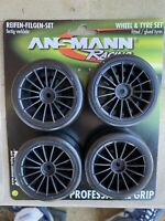 New Ansmann Touring Car Wheel & Tyre Set 26mm Wide 12mm Hex Pre-Glued Tamiya