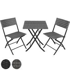 Salon de jardin 2 personnes mobilier chaises et table pliante en résine tressée