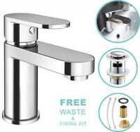 NEW Modern Waterfall Bathroom Tap Basin Sink Mono Mixer Chrome Cloakroom + Waste