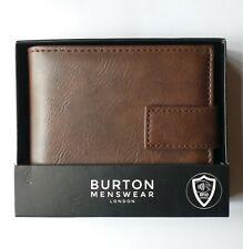 BURTON MENSWEAR LONDON BROWN LEATHER  WALLET WITH RFID SHIELD. NEW