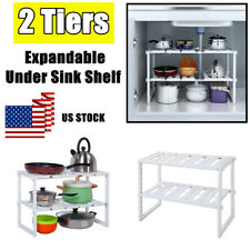 2 Tier Under Sink Expandable Shelf Organizer Rack Storage Kitchen Rack Holders