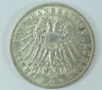Coin Münze 3 Mark Hansestadt Lübeck 1910 A Silber silver Jäger 82