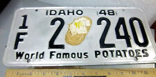 Idaho metal License plate 1948 Baked Potato decal in center, low number 2 240 *