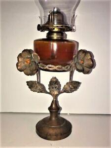 Great 19th Century Kerosene Table Lamp, Amber Font Jeweled Floral Brass Frame