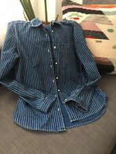 Levis Vintage Long Sleeve Button Stripped Denim Shirt Mens Sz 1 Small