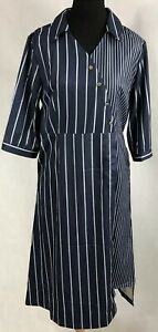 Coeur de Vague Blue Striped Button-Front  Dress Size 8