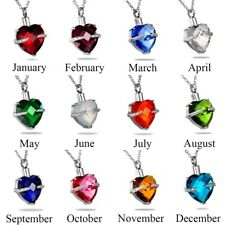 Crystal Birthstone Heart Cremation Jewelry Keepsake  Memorial Ashes Urn Necklace