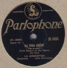 LA ARGENTINA - La Vida Breve / Cordoba 78 rpm disc (A++, CASTANETS)