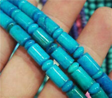 6x9mm Azurite Chrysocolla Gem Column Loose Bead 15""