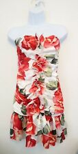 Ladies white/red/green strapless floral flower rose ruffle mini dress size 12