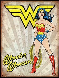 "Distressed Comic Book Tin Sign (Metal) DC Wonder Woman 12.5 x 16"" / New"