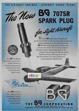 NAVION PRIVATE AIRCRAFT WITH BG 707SR SPARK PLUGS FOR LIGHT AIRCRAFT 1947 AD