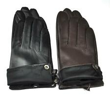 Men's Genuine Lambskin Leather Full Touchs creen Wrist Gloves Silk Fleece Inside