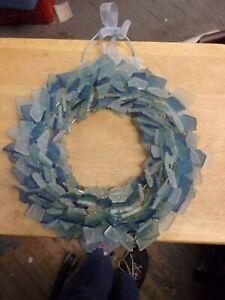 """Blue Beach Sea Glass Aqua Round Wreath ID 6"""" OD 12"""" Tumbled Seaglass"""