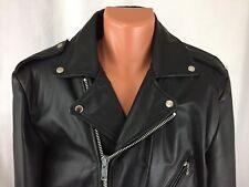 OPEN ROAD Wilsons Leather Vintage Black Motorcycle Biker Jacket Men 42 Large