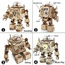 ROBOTIME DIY Wooden Music Box with LED Steampunk 3D Puzzle STEM Toy for Children