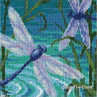 Dimensions Cross Stitch Kit Needlepoint Dragonfly Pair 5 x 5 7208