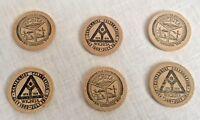 6 Wichita Wooden Nickels 1970 City Centennial Celebration Souvenir Vintage Lot