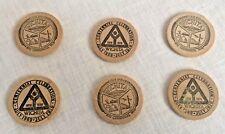 6 Wichita Wooden Nickels 1970 City Centennial Celebration Vintage Lot