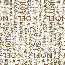Joy / Noel Tissue Paper ~ Gold Letters & Sparkles # 759 ~ 10 Large Sheets