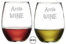 ACCIO WINE  Set Of 2 Etched Stemless Red White Wine Glass Monogrammed Engraved
