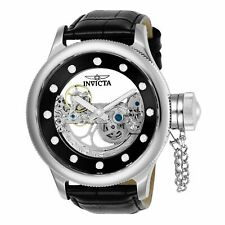 Invicta Men's Russian Diver 24593 Leather Automatic Diving Watch - Silver