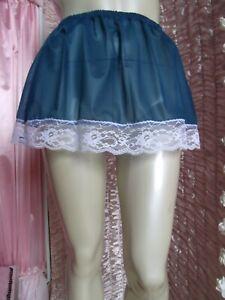 "Vtg Style Blue Nylon Micro Mini Underskirt  30"" - Max 46"""