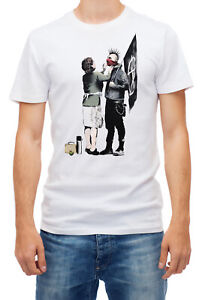 Banksy Anarchist Punk And His Mother Art Short sleeve White Men T shirt K126