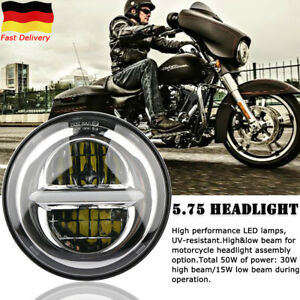 """5.75"""" Motorcycle Round LED headlight Hi/Lo Beam DRL Projection For Harley Honda"""