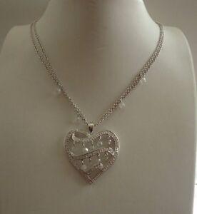HEART CHANDELIER DANGLING DOUBLE CHAIN NECKLACE PENDANT W/ 3.50 CT LAB DIAMONDS