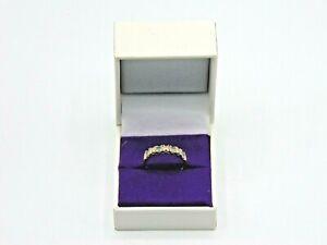 Vintage Gold Ring with Horizontally Set Diamonds and Aquamarine, Size N (AH147J)