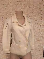 CHAIKEN Ivory Cream Long-sleeve  double-breasted cardigan sweater jacket SZ M