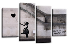 Banksy Girl With Black Balloon Canvas Picture Grey White Split Wall Art