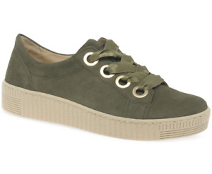 Gabor Wright Womens Lace Up Leather Suede Sneakers Shoes, Olive