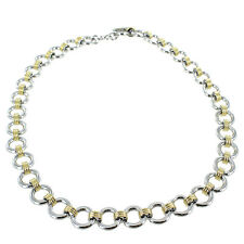 """Rochet Roma Two Tone Gold Plated & Stainless Steel Chain Necklace 22"""""""