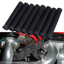 8PCS BLACK 1200° SPARK PLUG WIRE BOOTS HEAT SLEEVE WRAP SHIELD PROTECTOR COVER