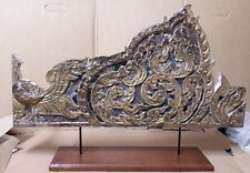 +80 year old Gold Gilt wood carved old antique vintage left panel Buddha pulpit