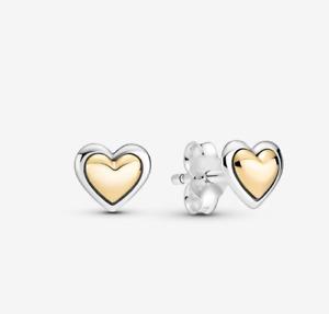 😍PANDORA New 925 Sterling Silver Domed Golden Heart Stud Earrings