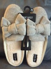 bd25fea041a NINE WEST WOMEN S LIGHT GRAY SLIP ON SLIPPERS SIZE XL 11-12 WITH BOWS