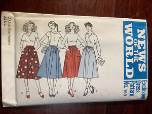 New Vintage NEWS OF THE WORLD Misses Skirt Pattern 169 Size 10-16 Uncut