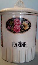 Pot en faïence Cuisine Farine décor floral Rétro années 30-40