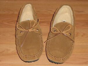 Mens Minnetonka Brown Leather Suede Slippers size 11M