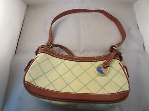 Dooney Bourke Small Yellow & Green Cloth Monogram & Brown Leather Trim Hand Bag