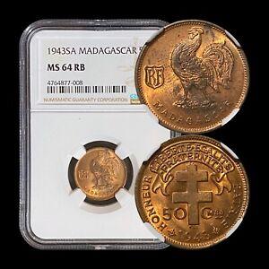 1943 Madagascar 50 Centimes - NGC MS64